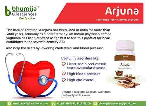 Bhumija Lifesciences Arjuna 250mg Supplements (60 Capsules) - Pack Of 3
