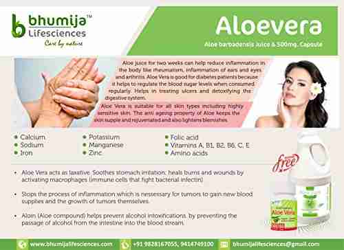 Bhumija Lifesciences Aloevera 500mg Supplements (60 Capsules)