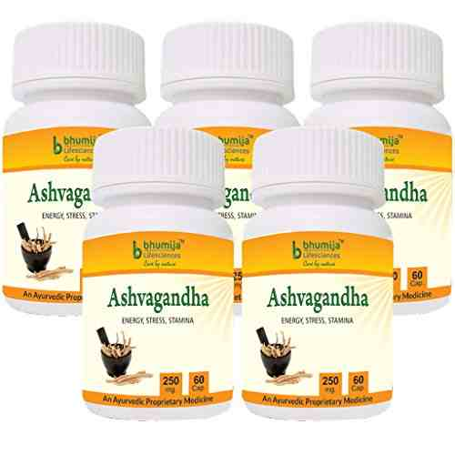 Bhumija Lifesciences Ashvagandha 250mg Supplement (60 Capsules, Pack of 5)
