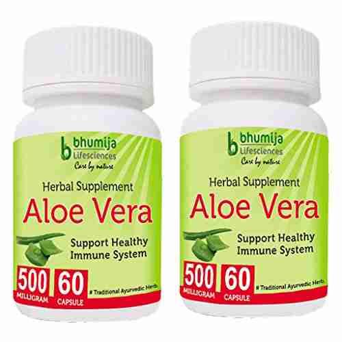 Bhumija Lifesciences Aloevera 500mg Supplements (60 Capsules) - Pack Of 2