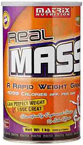 Matrix Nutrition Real Mass Gainer (1Kg / 2.2lbs, Chocolate)