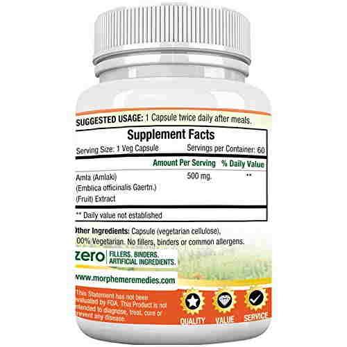 Morpheme Remedies Amla 500mg Extract Supplements (60 Capsules)