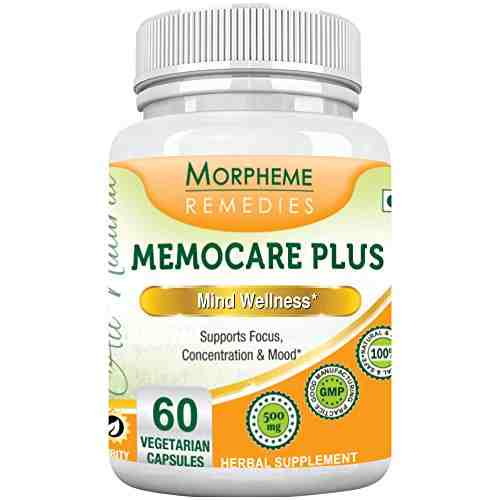 Morpheme Remedies Memocare Plus For Mental Alertness 500mg Extract (60 Capsules) - Pack of 6