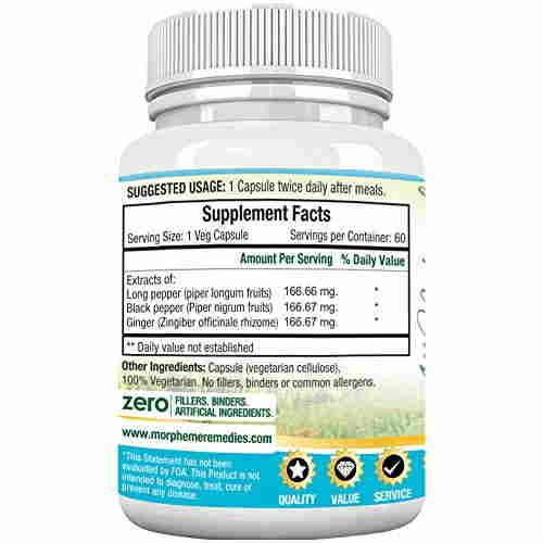 Morpheme Remedies Trikatu 500mg Extract Supplements (60 Capsules) - Pack Of 6