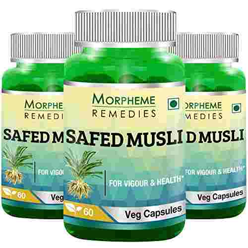Morpheme Remedies Safed Musli 500mg Extract Supplements (60 Capsules) - Pack Of 3