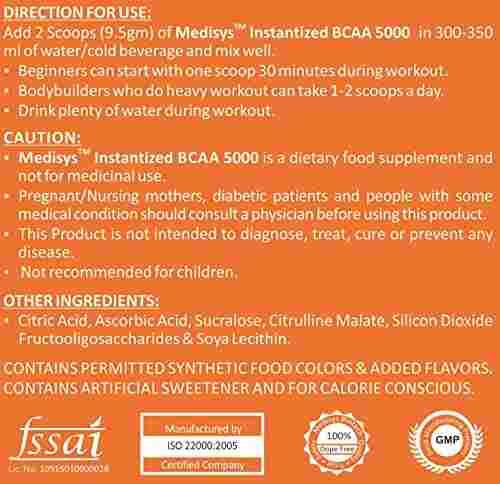 Medisys Instantized BCAA 5000 Protein (400gm / 0.89lbs, Orange)