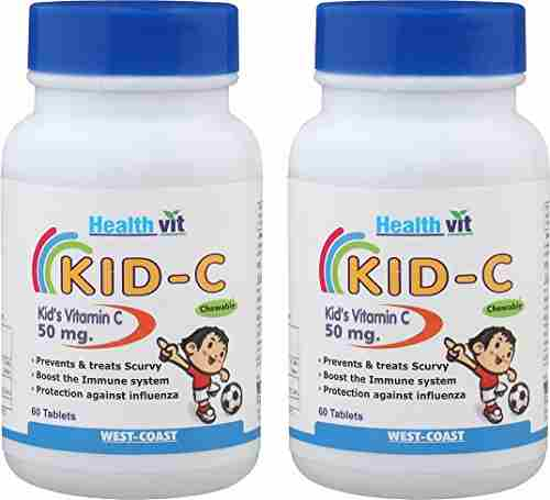 Healthvit Kid-C Vitamin-C 50 mg (60 Capsules) - Pack Of 2
