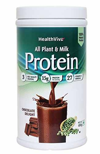 HealthViva All Plant & Milk Protein Powder (400gm, Chocolate)
