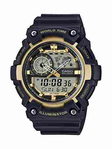 Casio Youth AEQ-200W-9AVDF Combination Analog Digital Gold Dial Men's Watch
