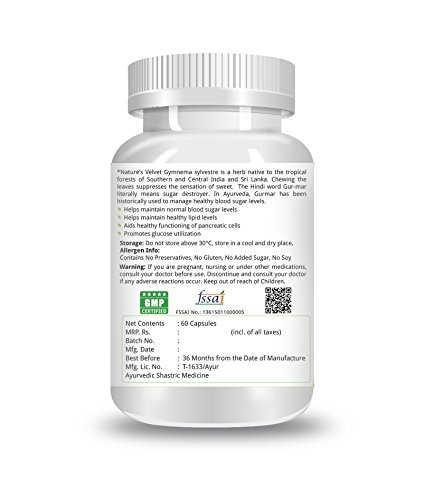 Natures Velvet Gymnema Sylvestre 500 mg Supplements (60 Capsules)