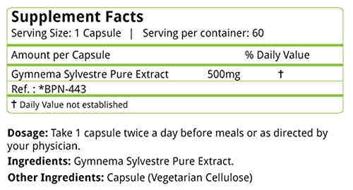Natures Velvet Gymnema Sylvestre 500mg Supplements (60 Capsules)