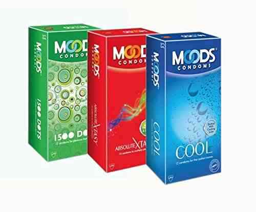 Moods Combo of 1500 Dots Cool Absolute Xtasy Condoms (12 Condoms)