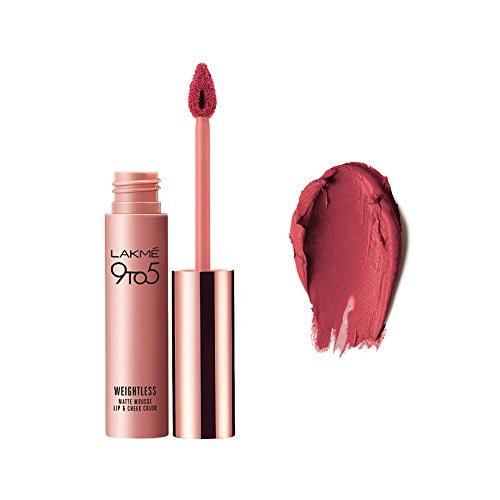 Lakme 9 to 5 Weightless Mousse Lipstick & Cheek Color, Plum Feather 9 GM