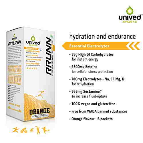 Unived Rrunn During Isotonic Electrolyte Sports Drink Mix (Orange, 6 Servings)