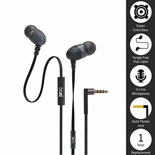 boAt BassHeads 225 In-Ear Super Extra Bass Headphones (Black)