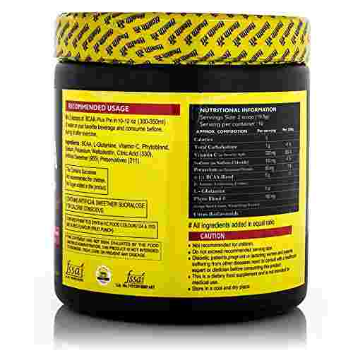 Healthvit BCAA Plus Pro Powder And Glutamine Support (200gm / 0.45lbs, Fruit Punch)