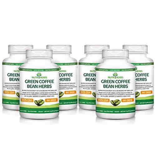 NutriHerbs Green Coffee Bean Herbs Supplement (60 Tablets, Pack of 6)