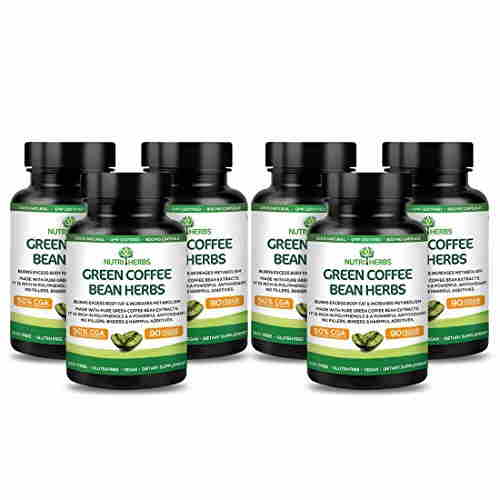 NutriHerbs Green Coffee Bean Herbs Supplement (90 Tablets, Pack of 6)
