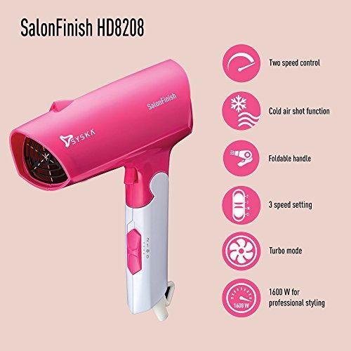 Syska HD8208 Salon Finish 1600 W Hair Dryer, White & Pink