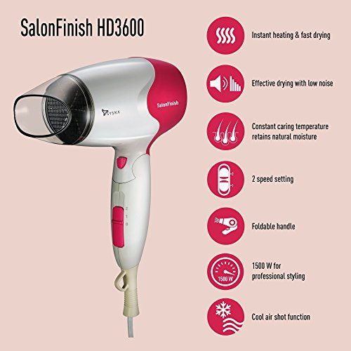 Syska HD3600 Salon Finish 1500 W Hair Dryer, White & Pink