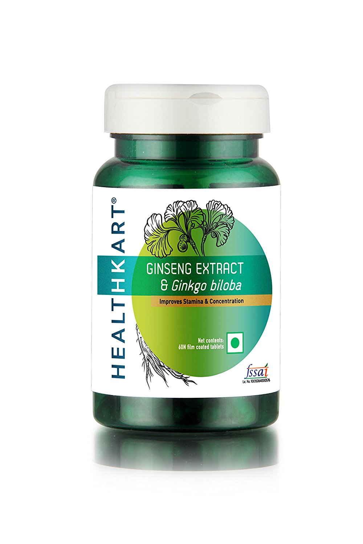 HealthKart Ginseng & Ginkgo Biloba, 60 Tablet