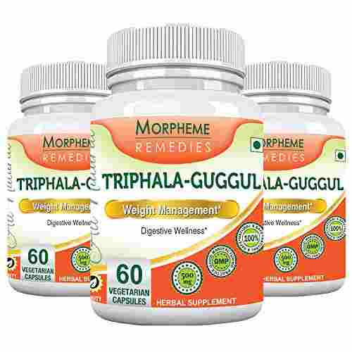 Morpheme Remedies Triphala Guggul 500 mg Supplement (60 Capsules, Pack of 3)