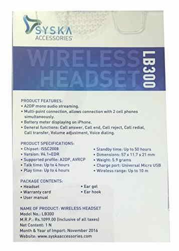 Syska LB300 Bluetooth Headset