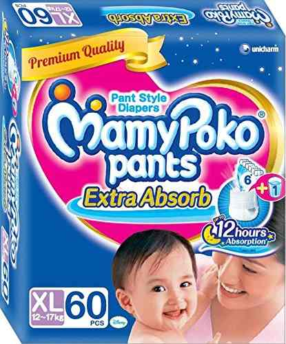 Mamy Poko Pant Style Baby Diaper, XL 60 Pieces
