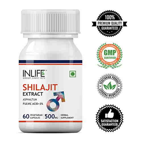 Inlife Shilajit 500mg Extract Supplement (60 Capsules) - Pack Of 3