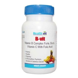Healthvit B-Vit Vitamin B Complex With Bioton Vitmain C And Folic Acid - Pack Of 2