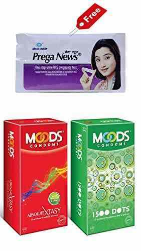 Moods Combo of Absolute Xtasy Condoms (12 Condoms) - Pack of 2 And 1500 Dots Condoms (12 Condoms)