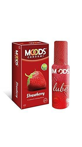 Moods Combo of Strawberry Condoms (12 Condoms) And Warm Lube (60ml)