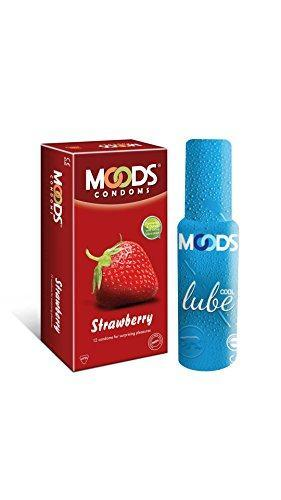 Moods Combo of Strawberry Condoms (12 Condoms) And Cool Lube (60ml)