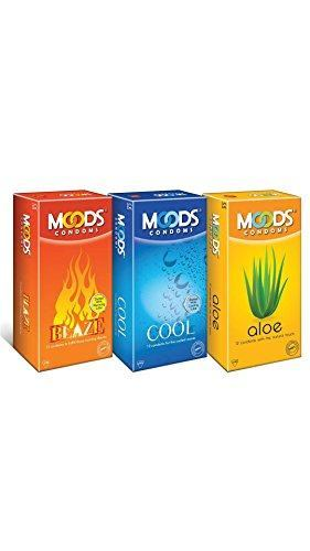 Moods Cool Blaze & Aloe Condoms (12 Condoms) - Pack of 3