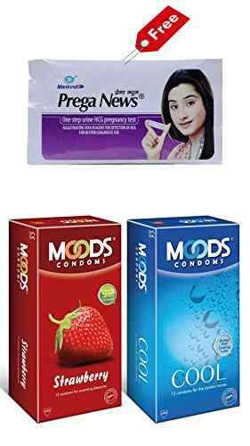 Moods Combo of Strawberry And Cool Condoms (12 Condoms) - Pack of 3