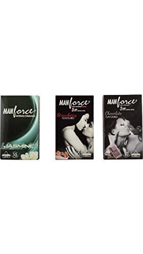 Manforce Chocolate, Strawberry, Jasmine Condoms (Pack of 3, 30 Condoms)