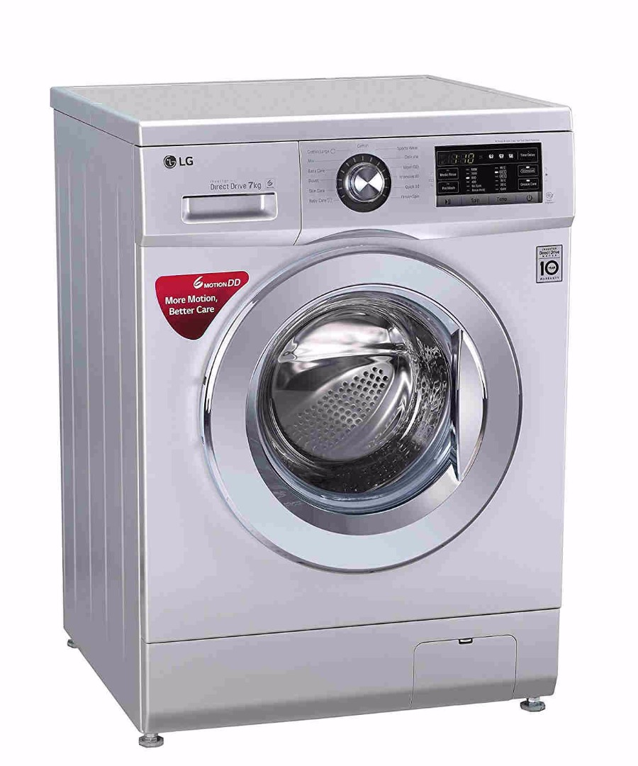 LG 7Kg Fully Automatic Front Loading Washing Machine Silver (FH2G6HDNL42, Silver)