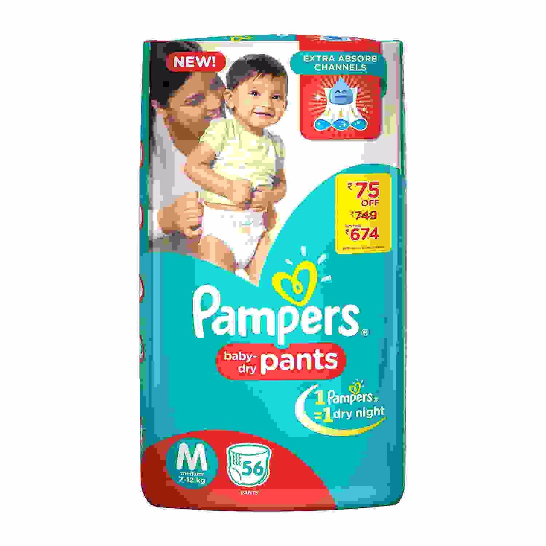 Pampers Pants Baby Diapers, M 56 Pieces