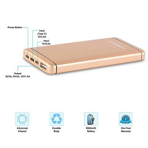 Ambrane Plush PQ-800 8000mAh Power Bank (Gold)