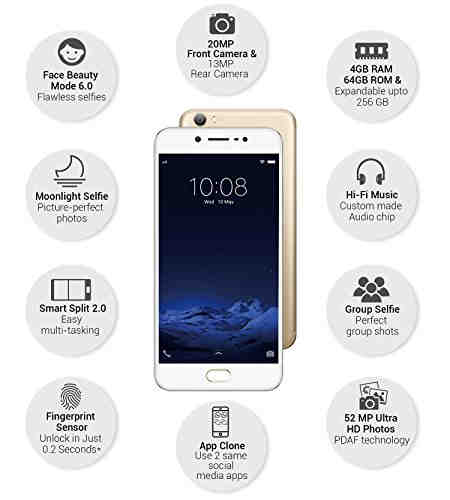 Vivo V5 (Vivo 1601) 32GB Gold Mobile
