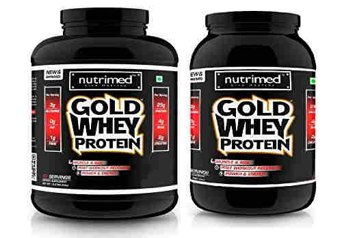Nutrimed Combo of Gold Whey Protein (2.26Kg And 0.9Kg, French Vanilla)