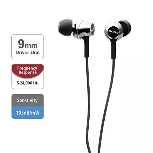 Sony MDR-EX155 in-Ear Headphones, Black