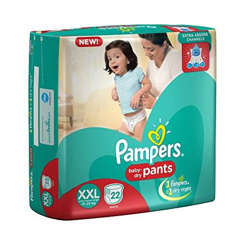 Pampers Extra Absorb Channels Baby Diapers, XXL 22 Pieces