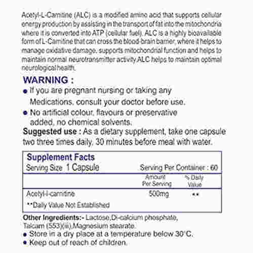 Healthvit Acetyl-L-Carnitine 500mg Supplement (60 Capsules)