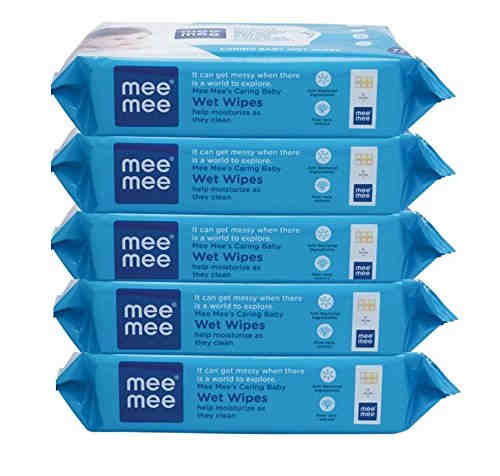 Meemee Anti Bacterial Caring Wet Baby Wipes, 72 Pieces (Pack of 5)