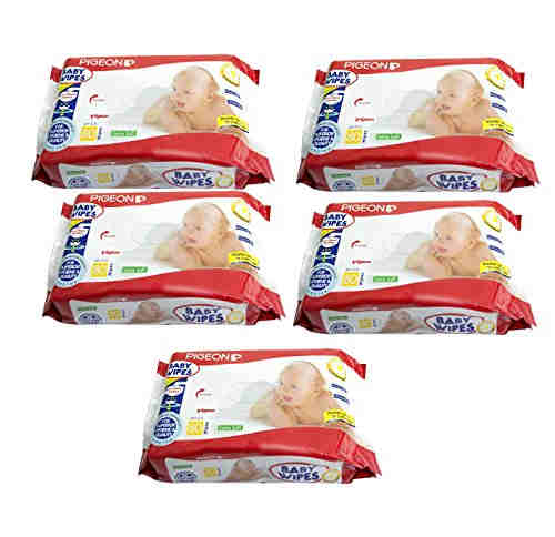Pigeon Baby Extra Soft Baby Wipes, 80 Pieces (Pack of 5)