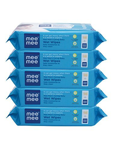 MeeMee Caring Baby Wet Wipes, 72 Pieces (Pack of 5)