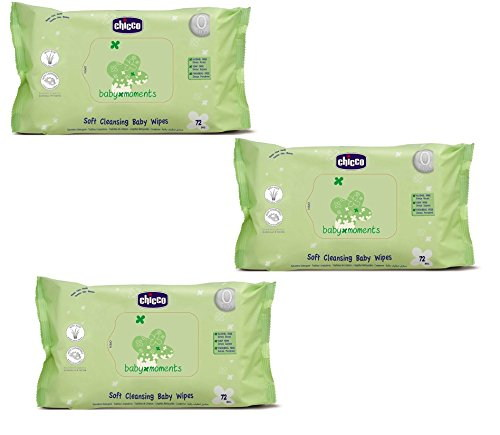 Chicco Soft cleansing baby wipes, 72 Pieces (3 Pieces)