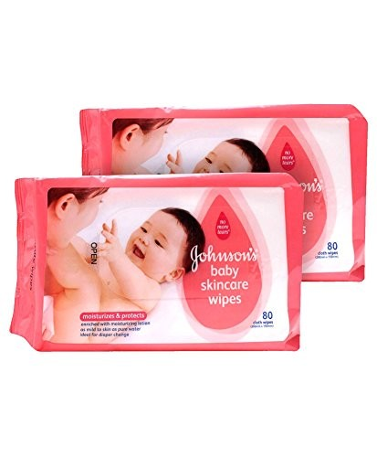 Johnson's baby Skincare Wipes, 80 Pieces (Pack of 3)