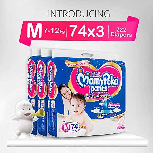 Mamy Poko Pants Extra Absorb M Diapers (74 Pieces) - Pack Of 3